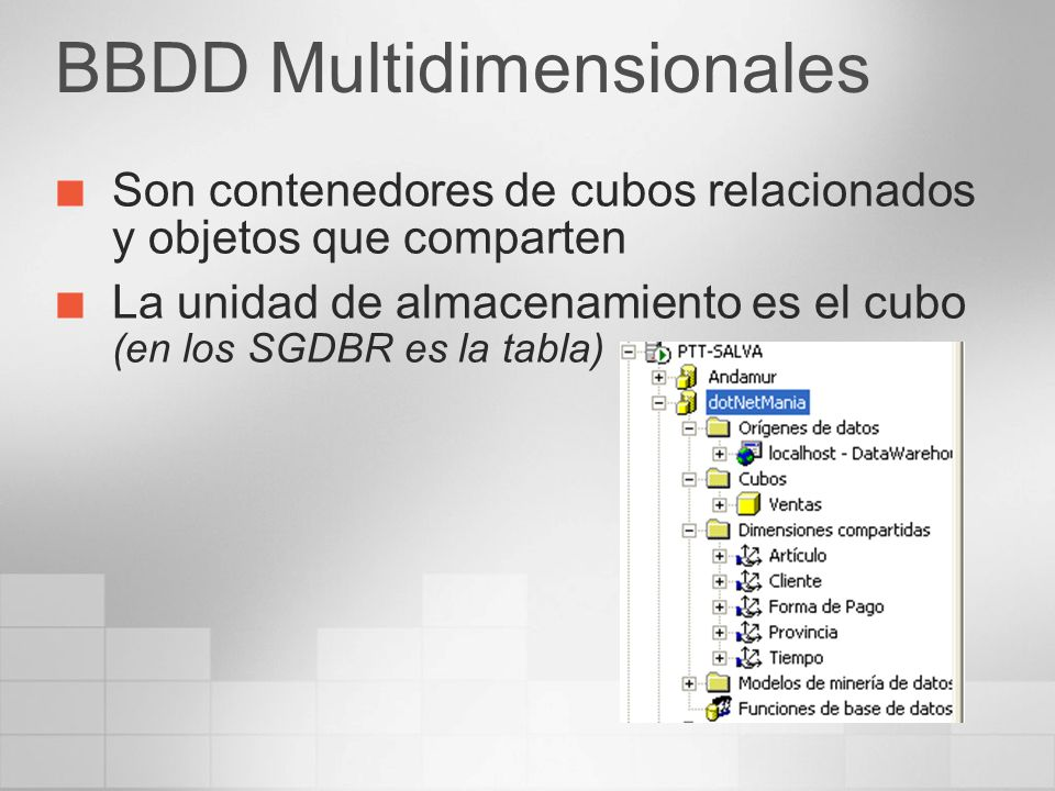 BBDD Multidimensionales