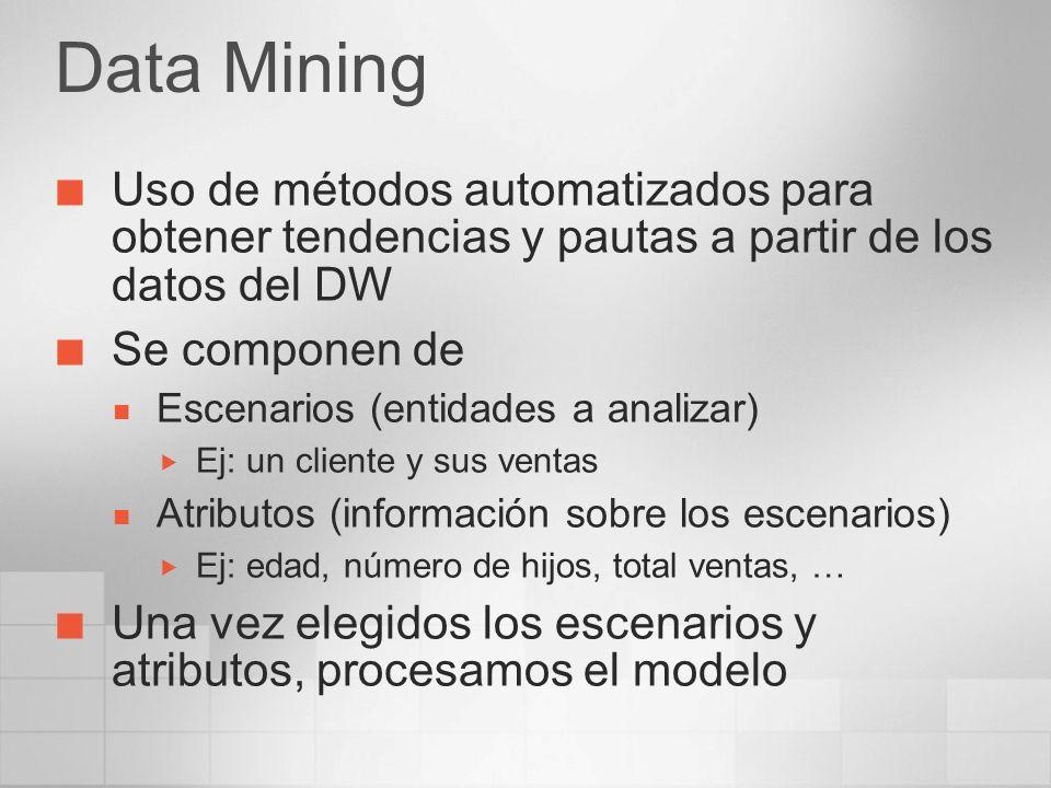 Data Mining Uso de métodos automatizados para obtener tendencias y pautas a partir de los datos del DW.