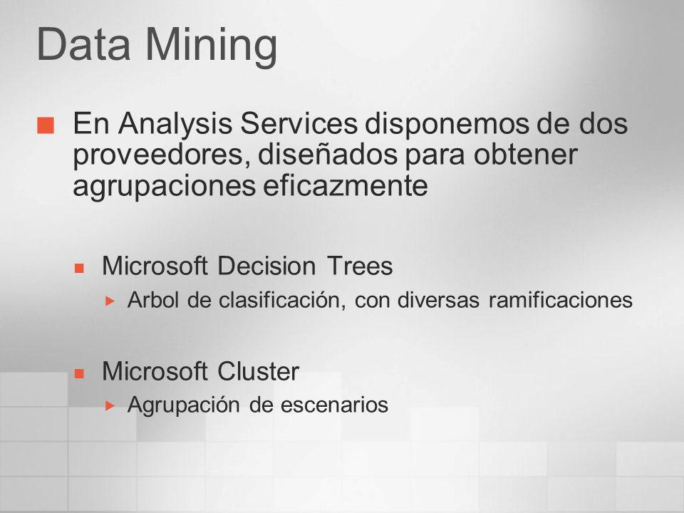 Data Mining En Analysis Services disponemos de dos proveedores, diseñados para obtener agrupaciones eficazmente.