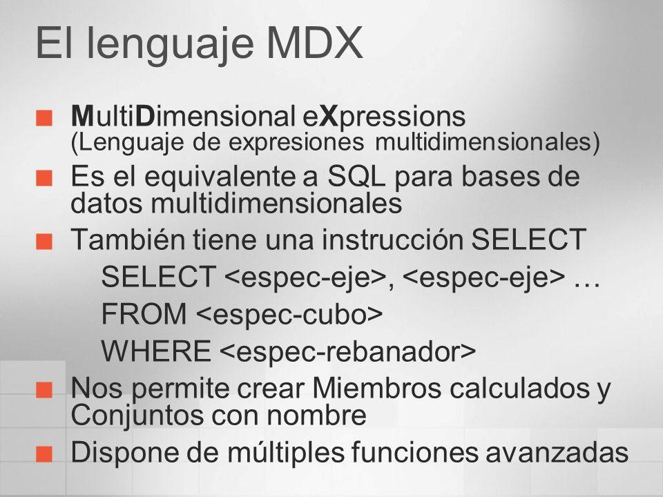 El lenguaje MDX MultiDimensional eXpressions (Lenguaje de expresiones multidimensionales)