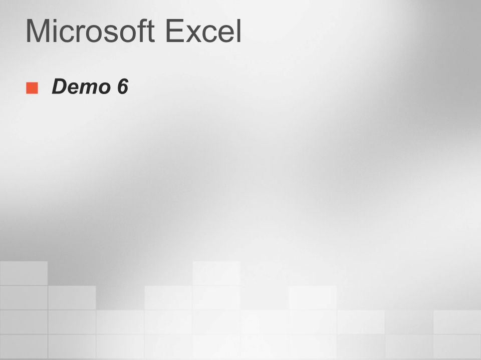 Microsoft Excel Demo 6 3/24/2017 4:00 PM