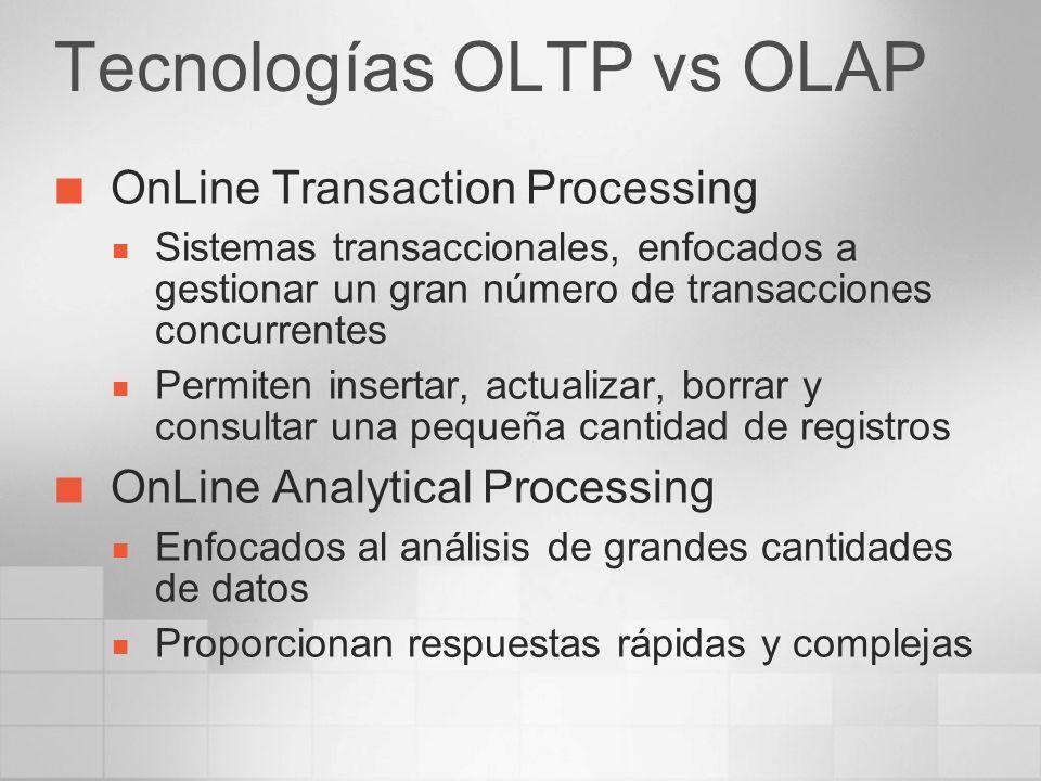 Tecnologías OLTP vs OLAP