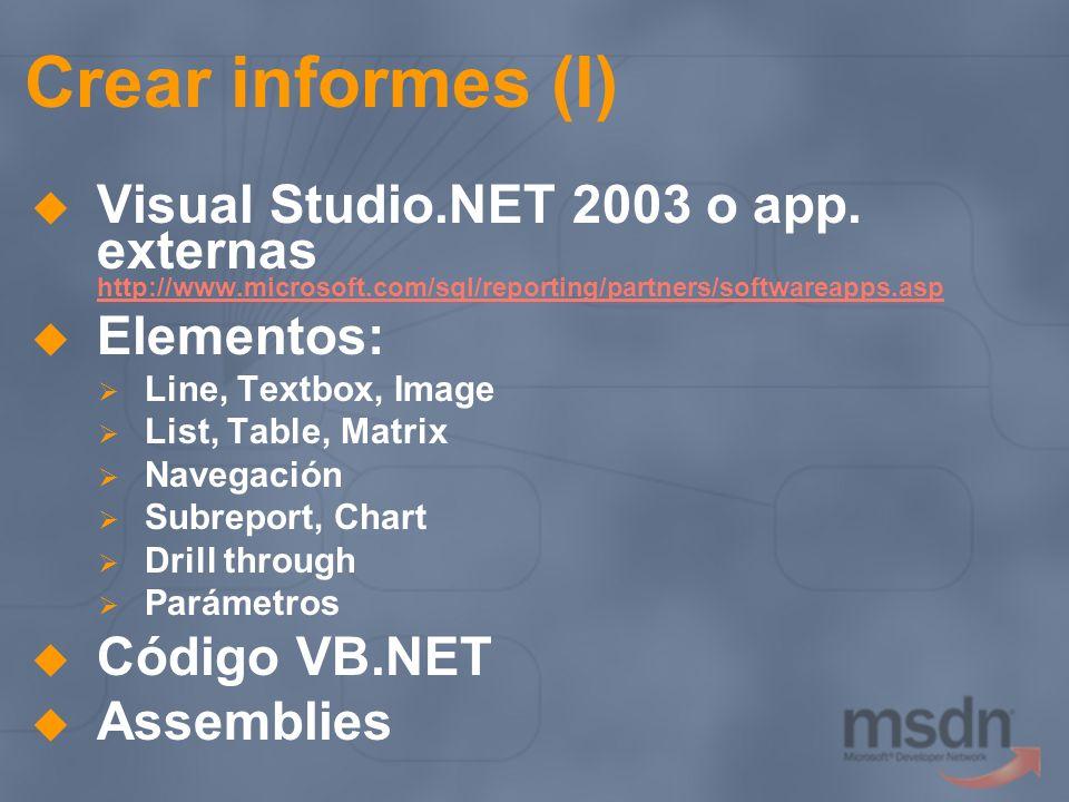 Crear informes (I) Visual Studio.NET 2003 o app. externas http://www.microsoft.com/sql/reporting/partners/softwareapps.asp.