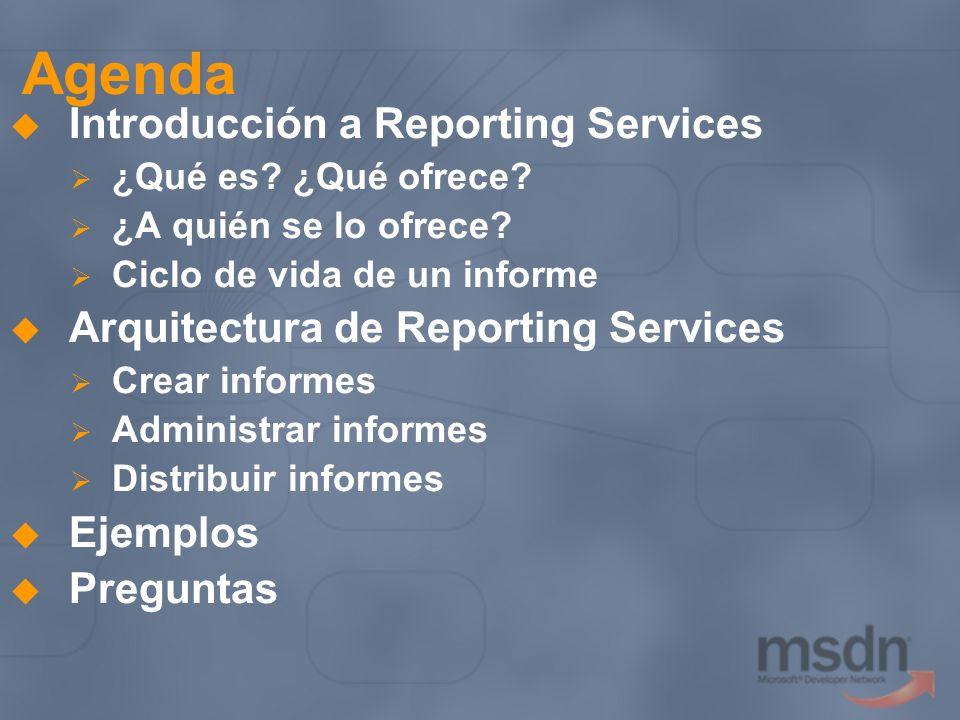 Agenda Introducción a Reporting Services