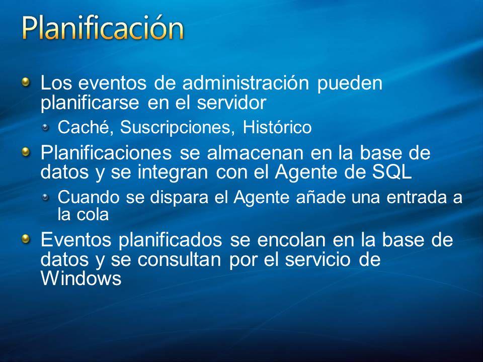 Los eventos de administración pueden planificarse en el servidor