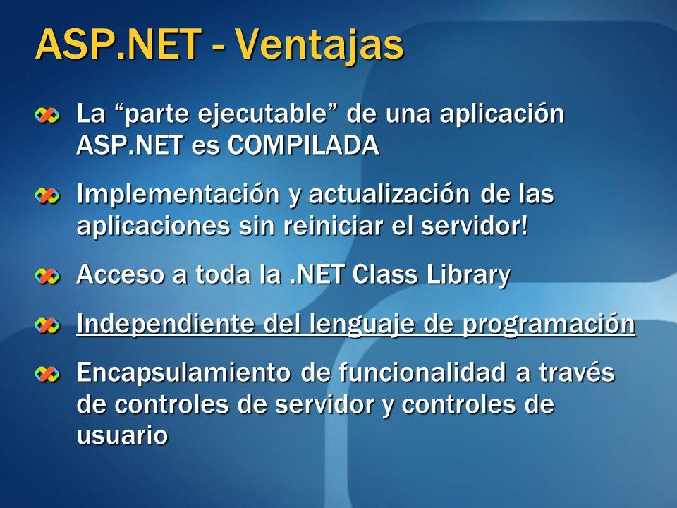 ASP.NET - Ventajas La parte ejecutable de una aplicación ASP.NET es COMPILADA.