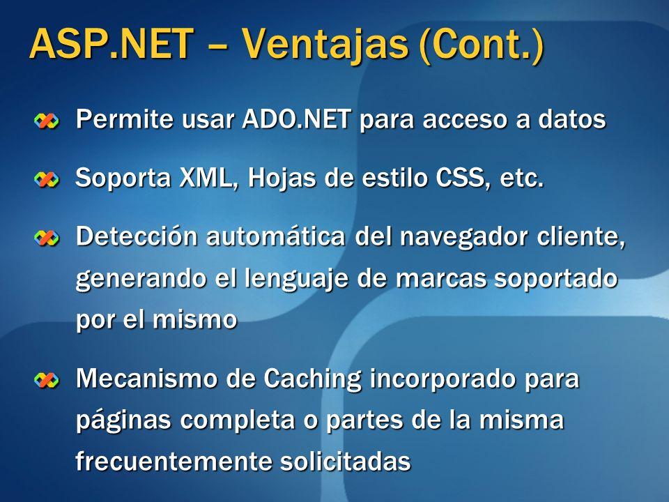 ASP.NET – Ventajas (Cont.)
