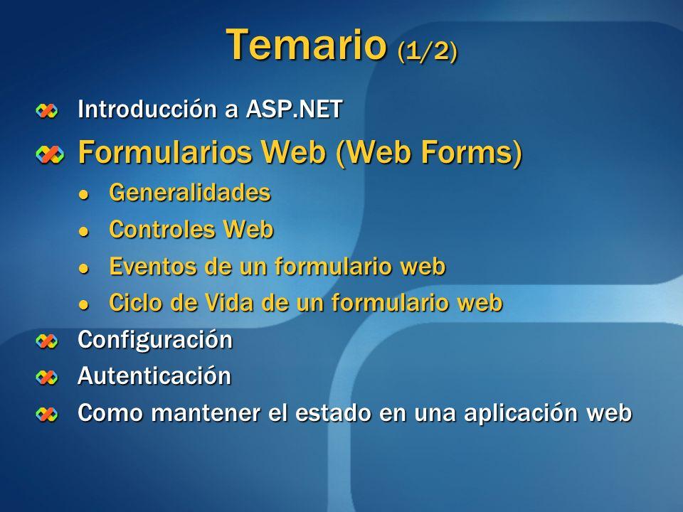Temario (1/2) Formularios Web (Web Forms) Introducción a ASP.NET