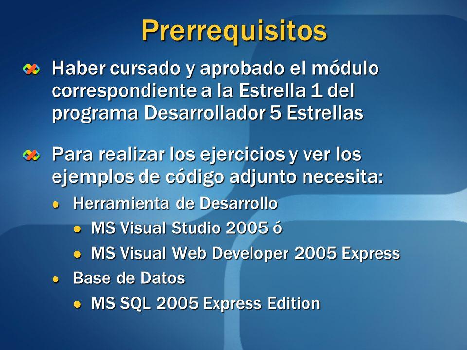 Prerrequisitos Haber cursado y aprobado el módulo correspondiente a la Estrella 1 del programa Desarrollador 5 Estrellas.