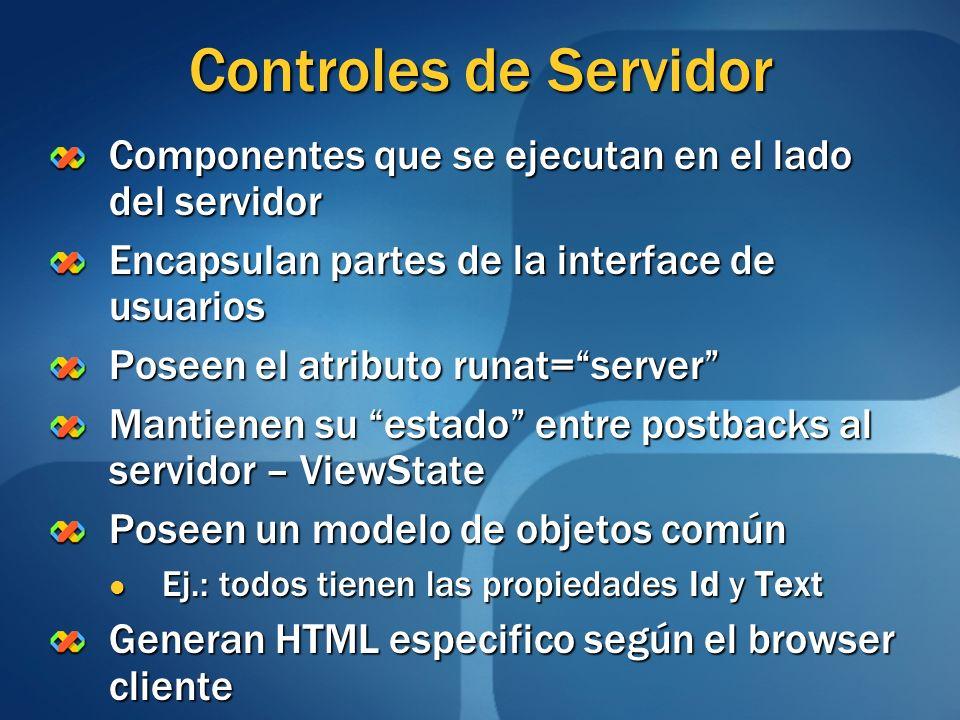 Controles de Servidor Componentes que se ejecutan en el lado del servidor. Encapsulan partes de la interface de usuarios.