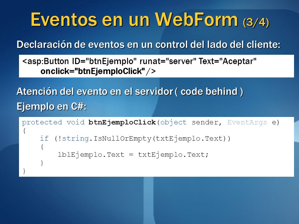 Eventos en un WebForm (3/4)