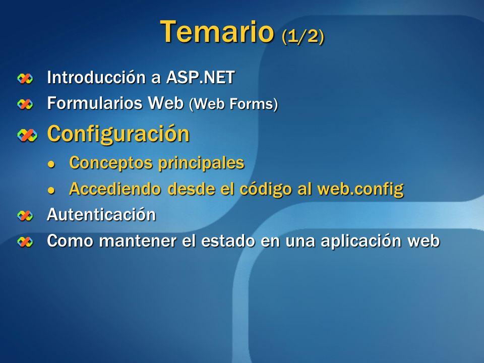 Temario (1/2) Configuración Introducción a ASP.NET
