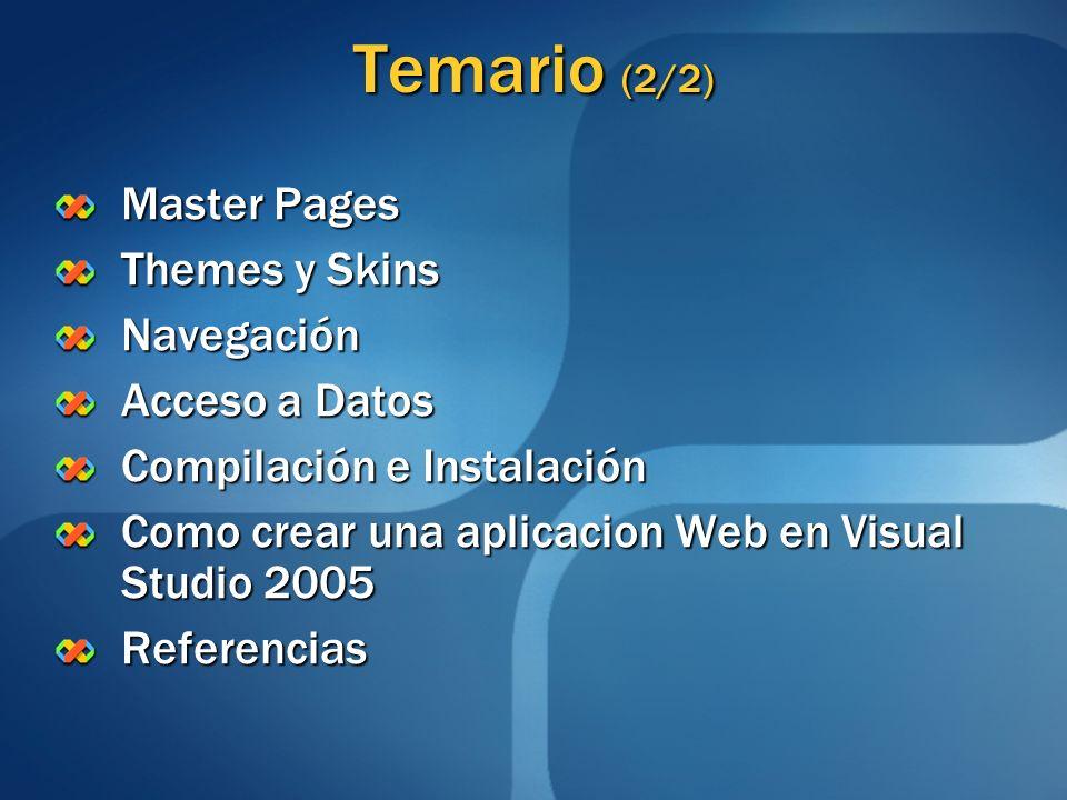 Temario (2/2) Master Pages Themes y Skins Navegación Acceso a Datos