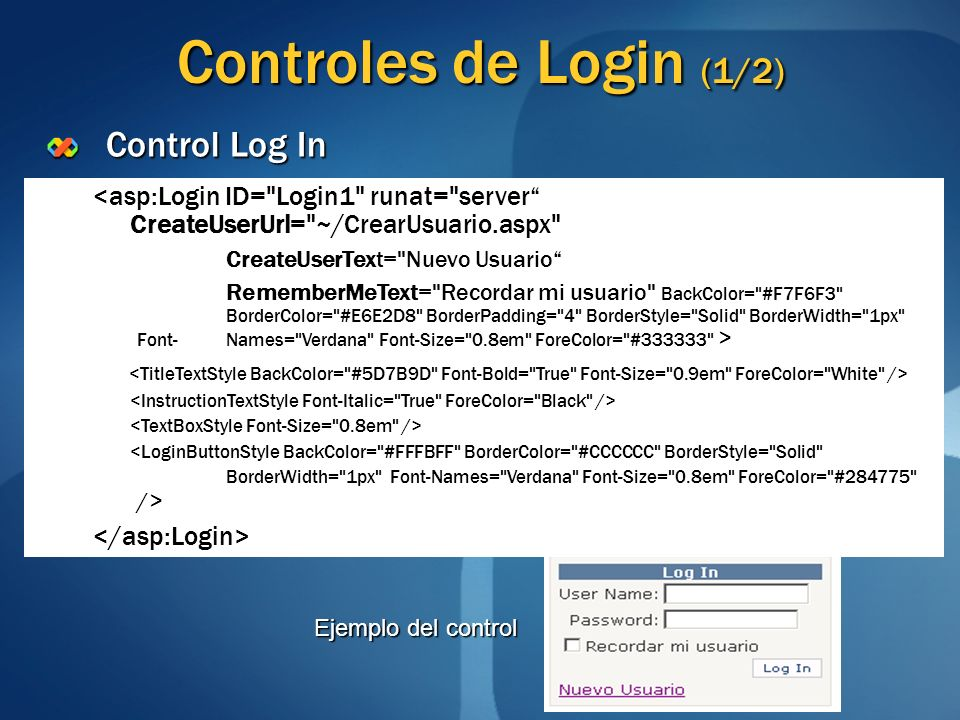 Controles de Login (1/2) Control Log In