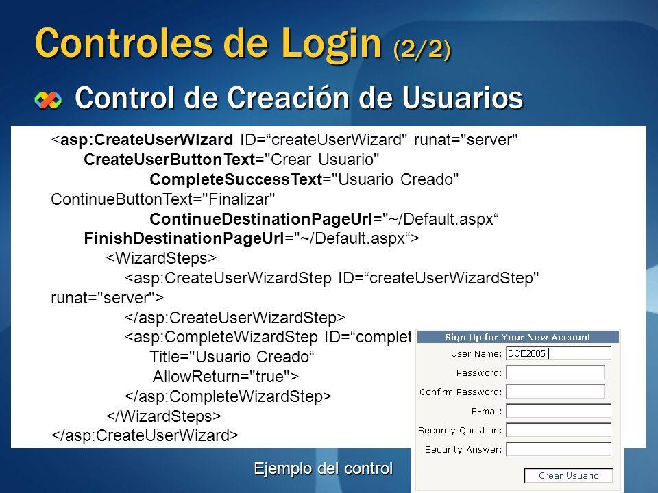 Controles de Login (2/2) Control de Creación de Usuarios