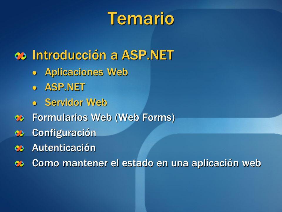 Temario Introducción a ASP.NET Aplicaciones Web ASP.NET Servidor Web