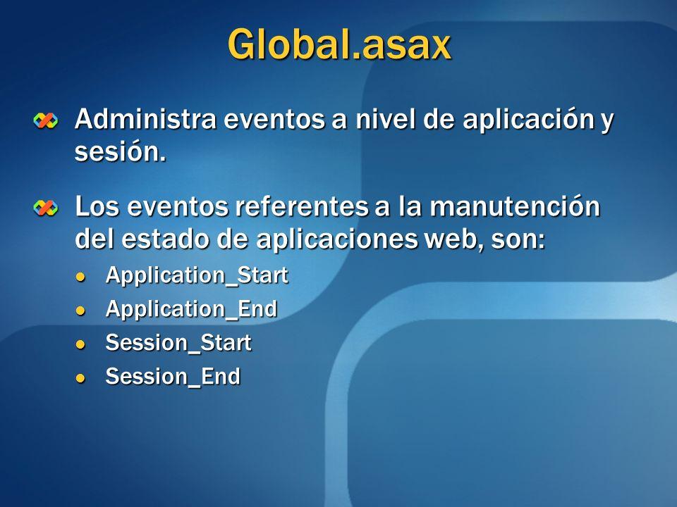 Global.asax Administra eventos a nivel de aplicación y sesión.