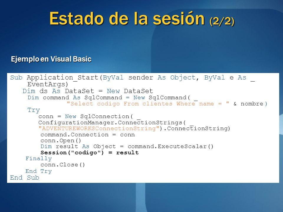 Estado de la sesión (2/2) Ejemplo en Visual Basic