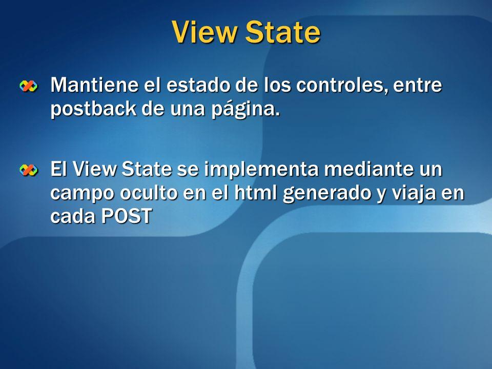 View State Mantiene el estado de los controles, entre postback de una página.