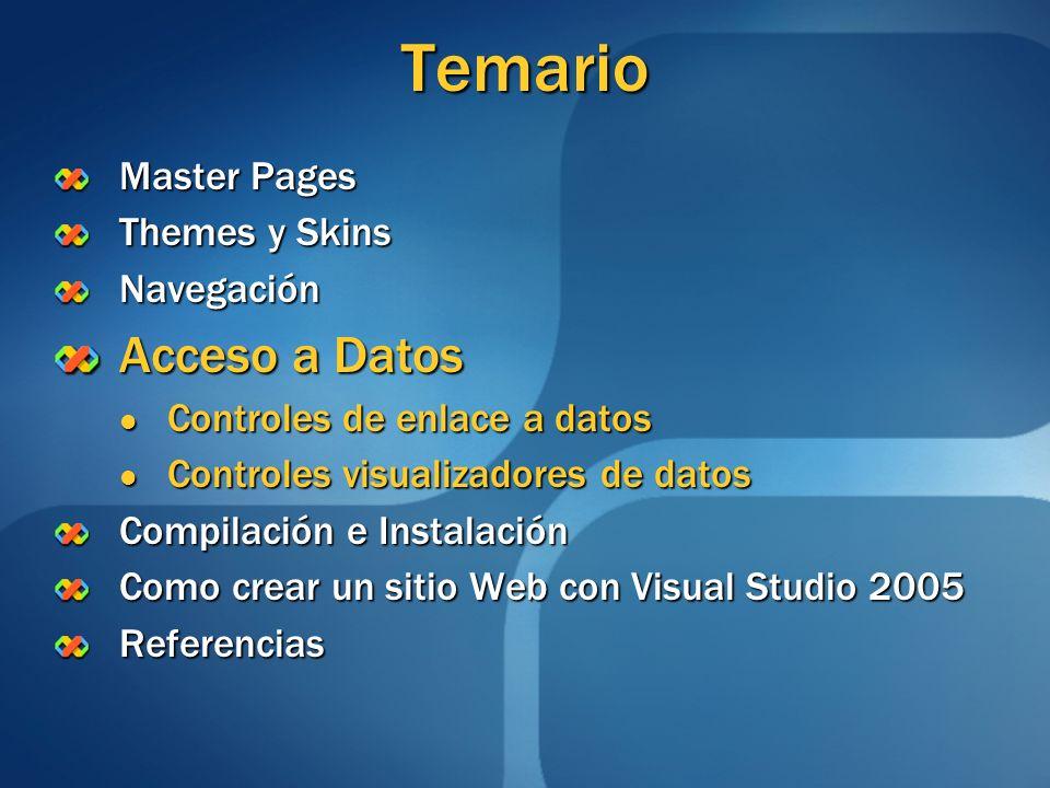 Temario Acceso a Datos Master Pages Themes y Skins Navegación