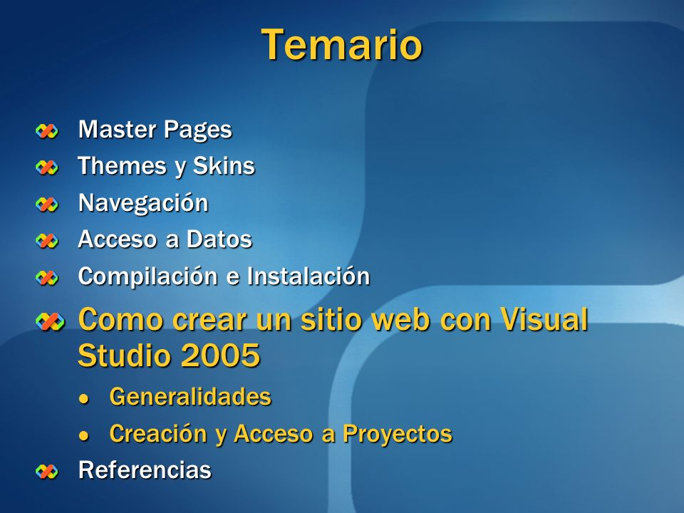 Temario Como crear un sitio web con Visual Studio 2005 Master Pages