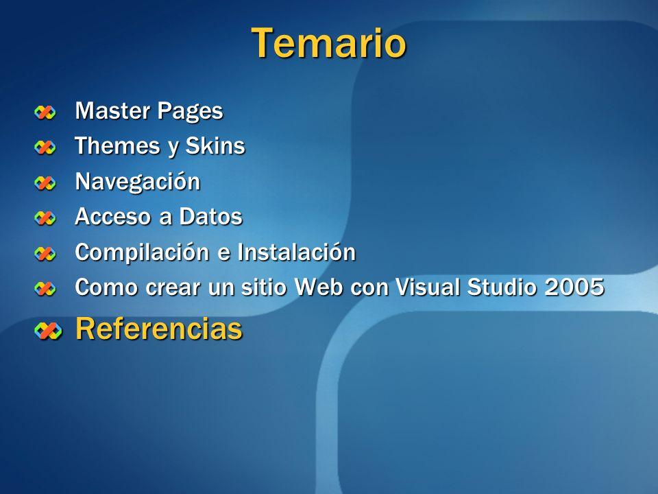 Temario Referencias Master Pages Themes y Skins Navegación