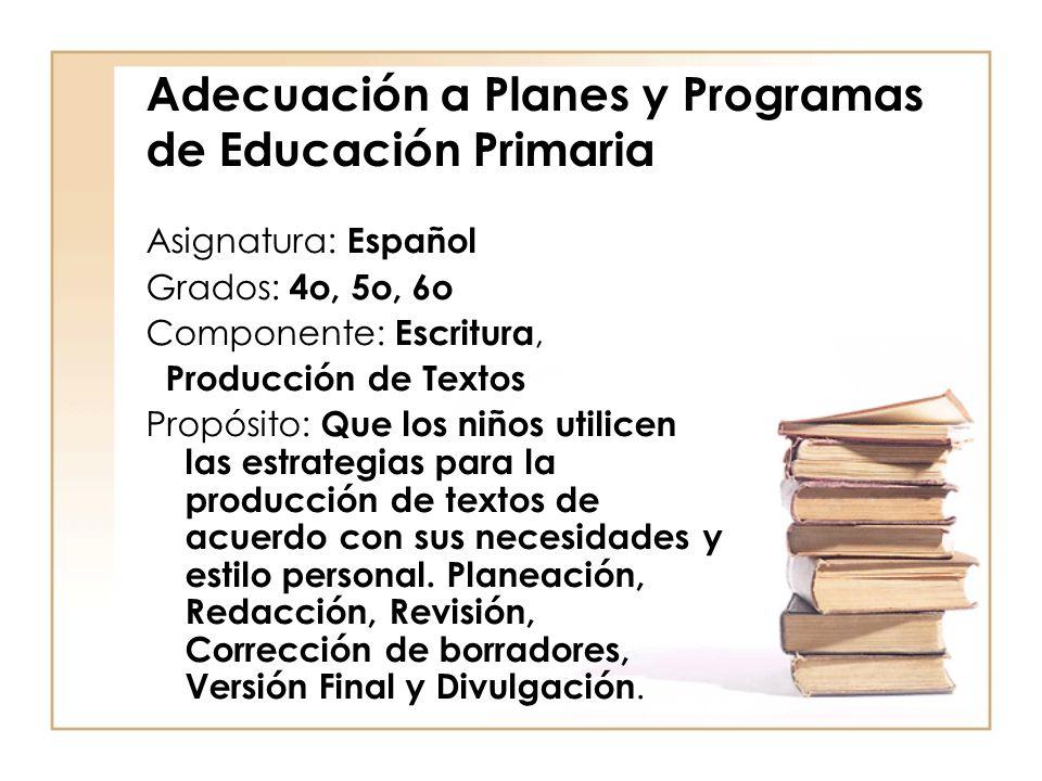 Adecuación a Planes y Programas de Educación Primaria