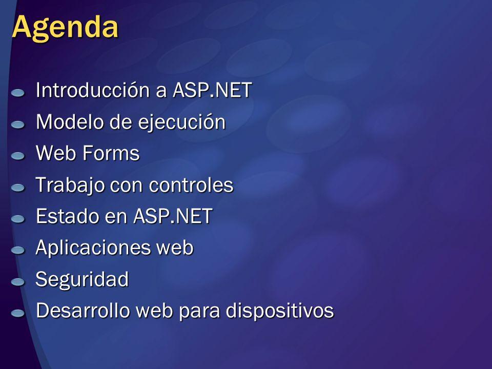 Agenda Introducción a ASP.NET Modelo de ejecución Web Forms