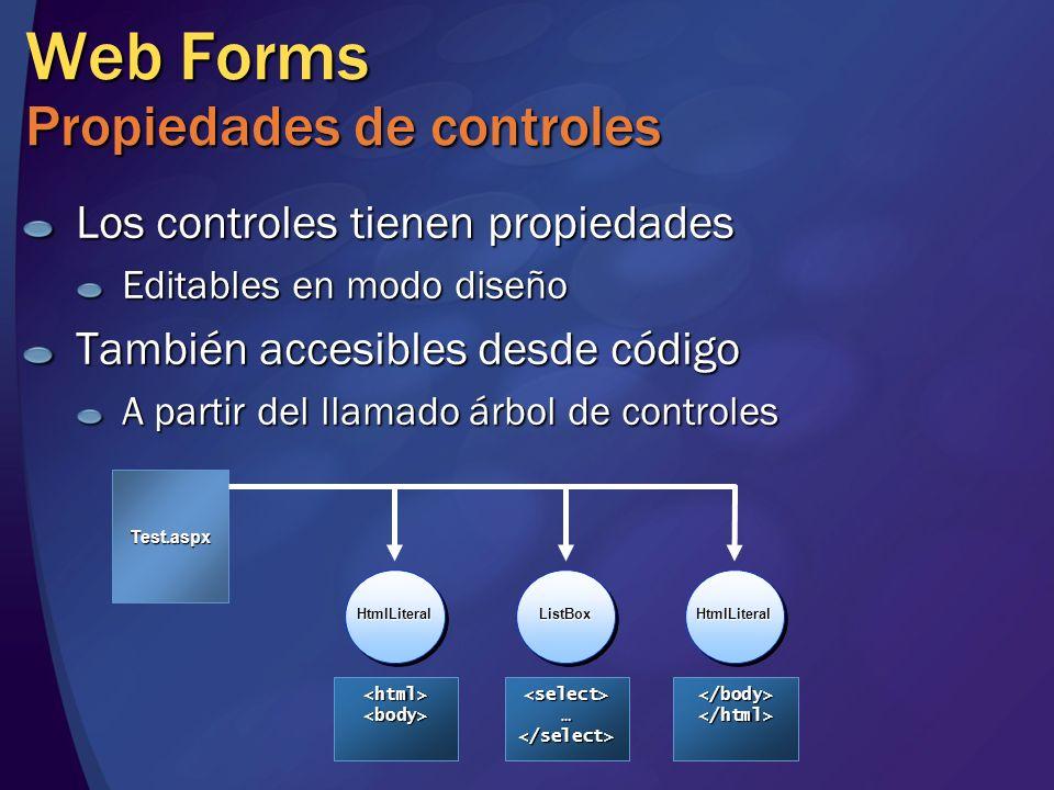 Web Forms Propiedades de controles