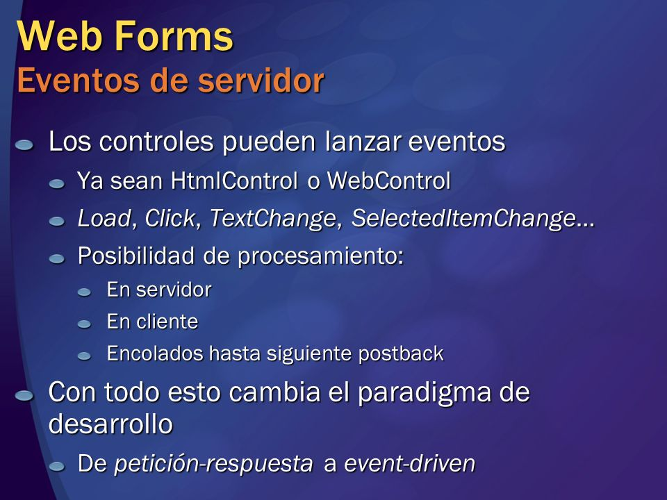 Web Forms Eventos de servidor