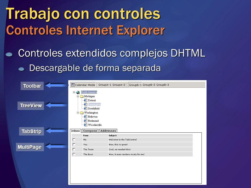 Trabajo con controles Controles Internet Explorer