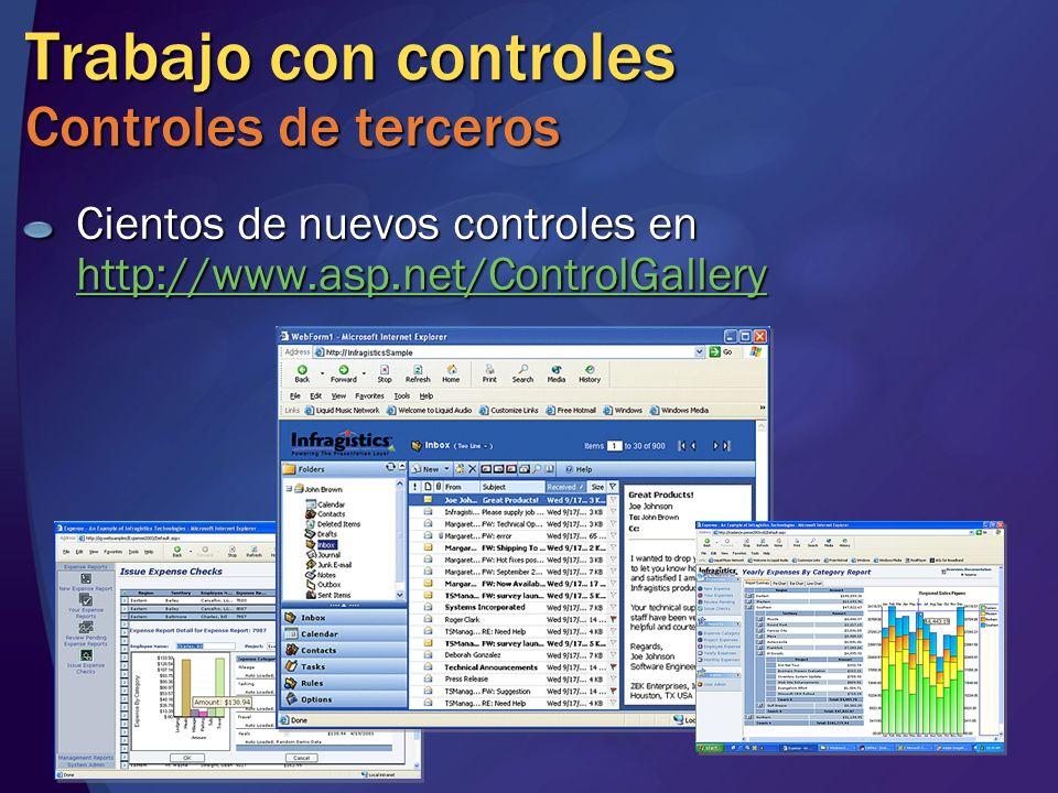 Trabajo con controles Controles de terceros