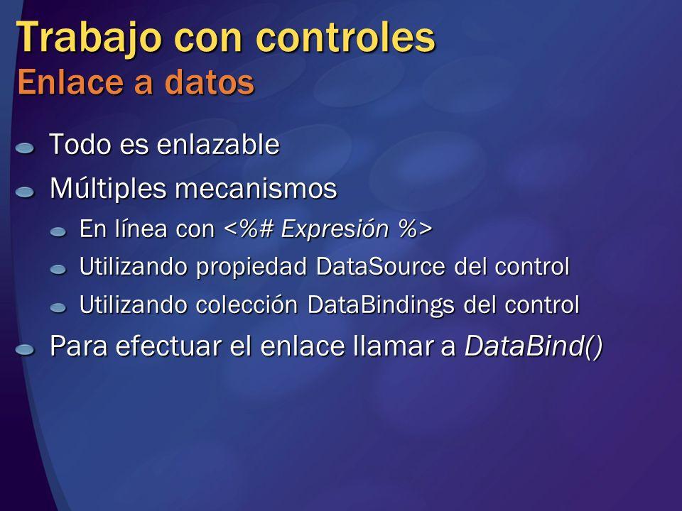 Trabajo con controles Enlace a datos
