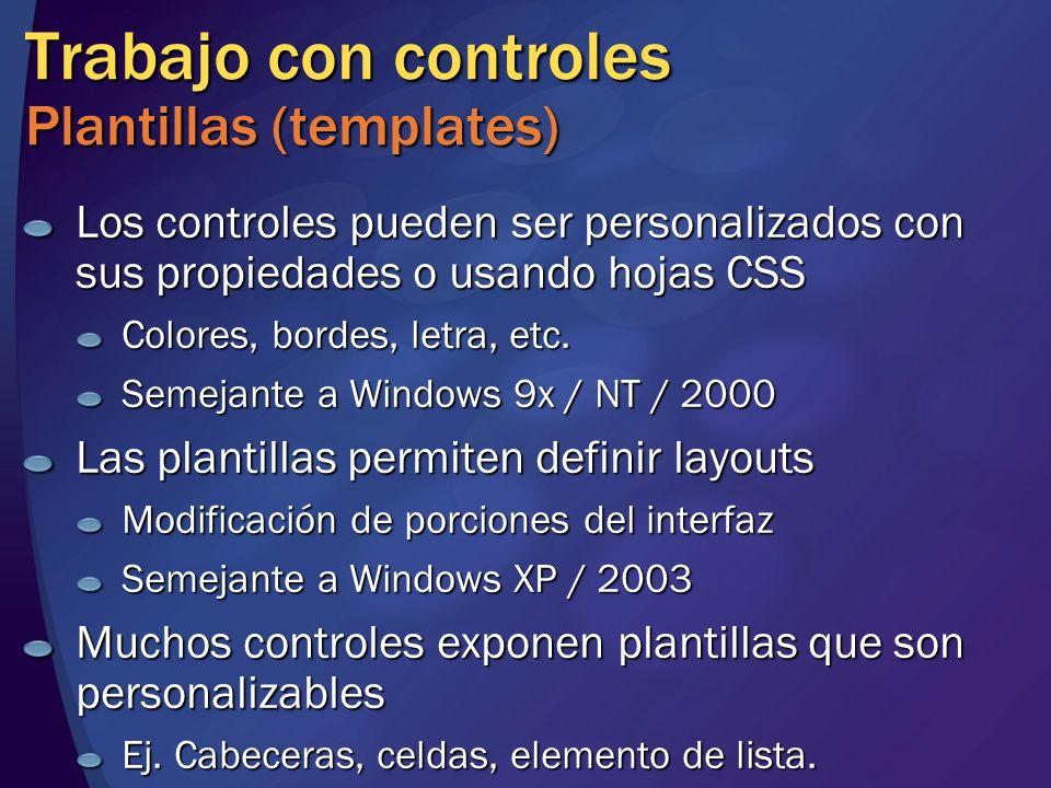 Trabajo con controles Plantillas (templates)