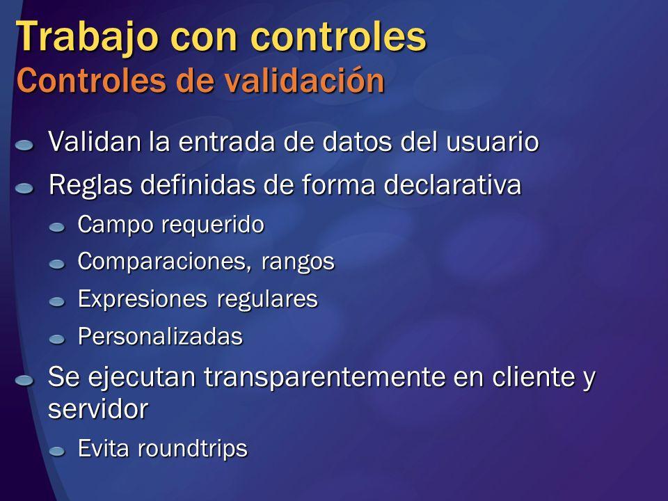 Trabajo con controles Controles de validación
