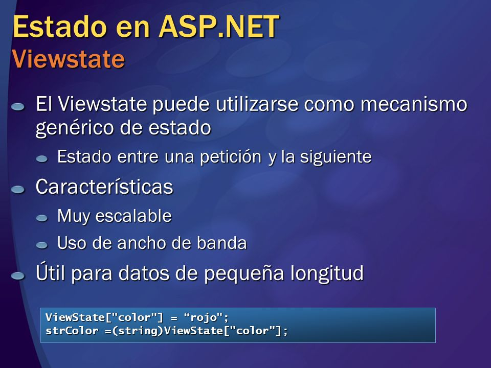Estado en ASP.NET Viewstate