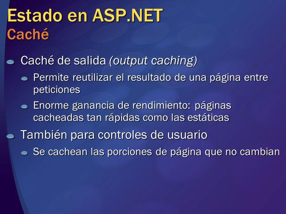 Estado en ASP.NET Caché Caché de salida (output caching)
