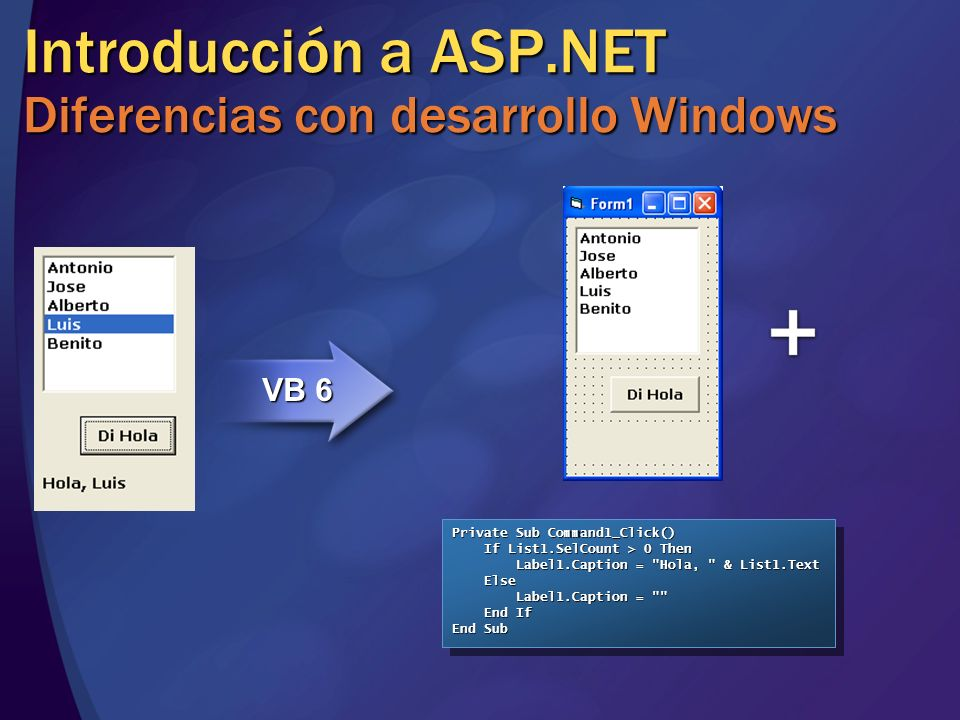 Introducción a ASP.NET Diferencias con desarrollo Windows