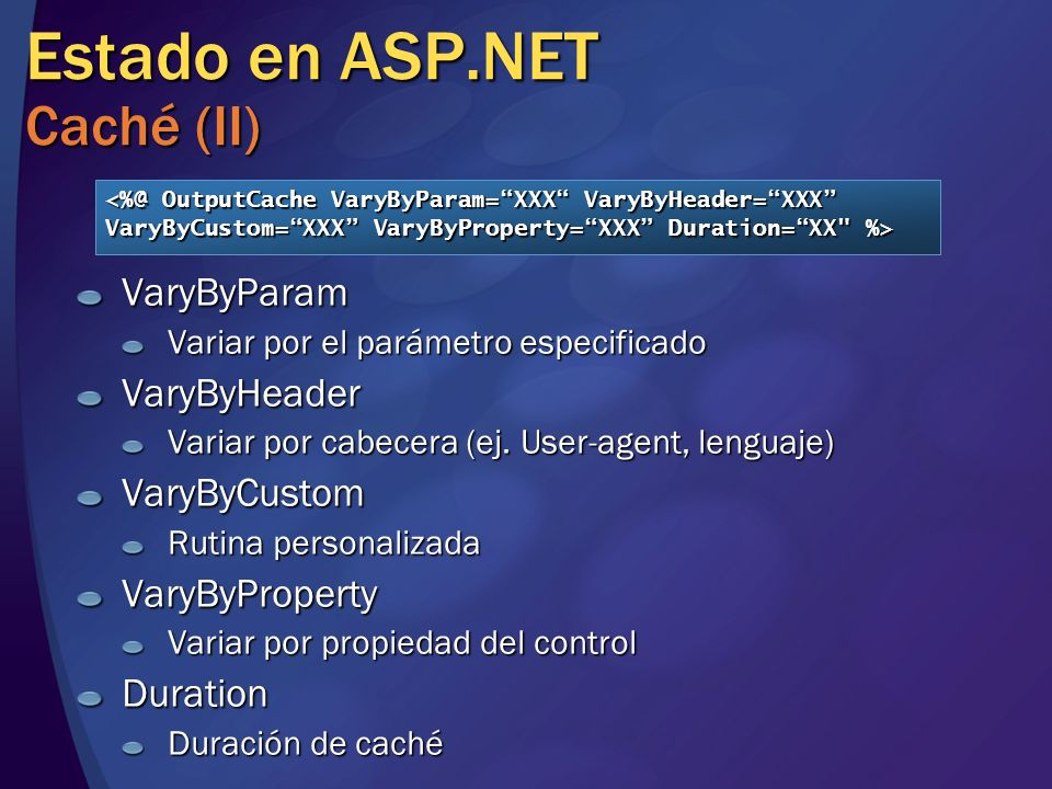 Estado en ASP.NET Caché (II)