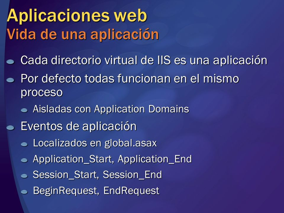 Aplicaciones web Vida de una aplicación