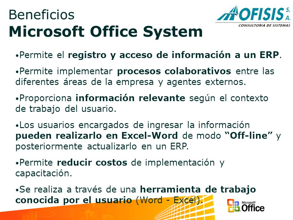 Beneficios Microsoft Office System