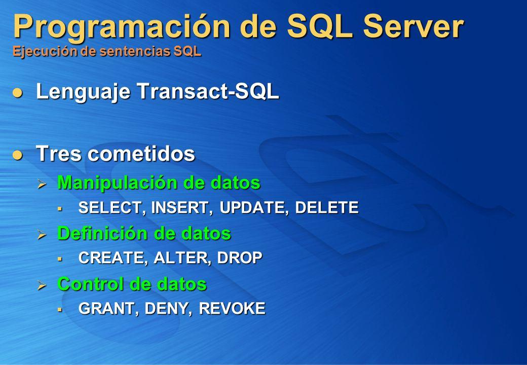 Programación de SQL Server Ejecución de sentencias SQL