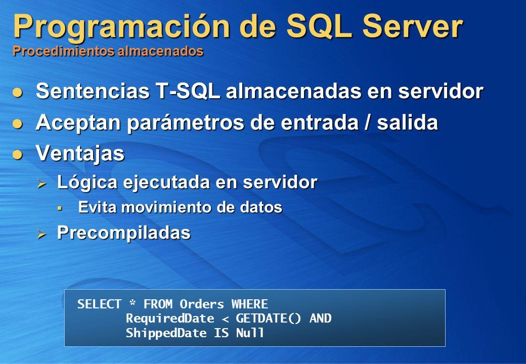 Programación de SQL Server Procedimientos almacenados