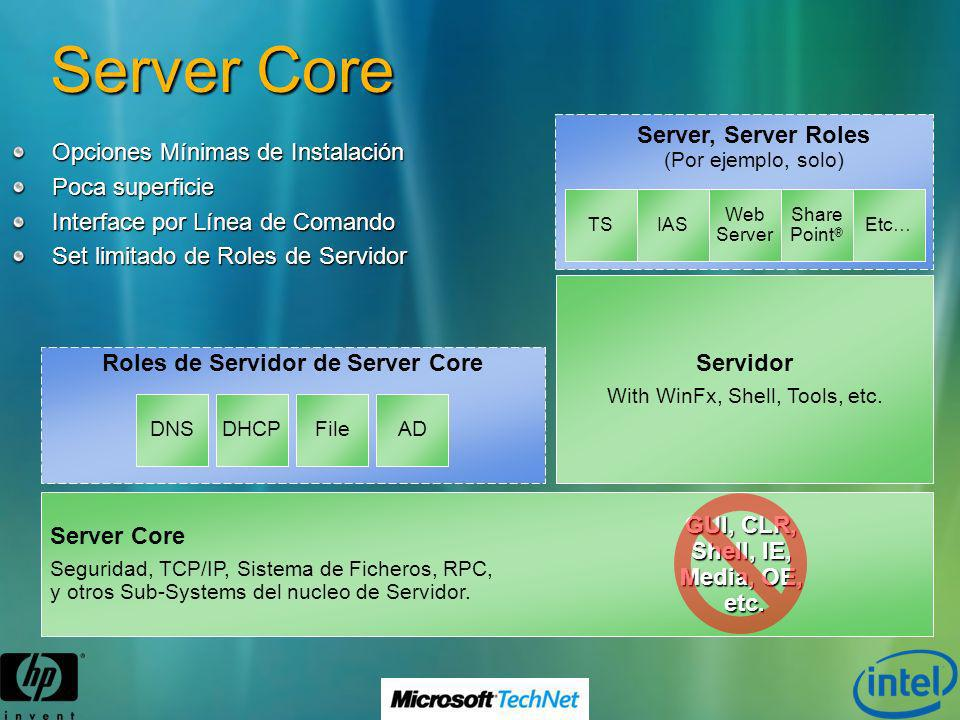 Roles de Servidor de Server Core GUI, CLR, Shell, IE, Media, OE, etc.