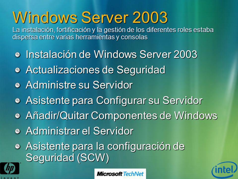 Windows Server 2003 La instalación, fortificación y la gestión de los diferentes roles estaba dispersa entre varias herramientas y consolas