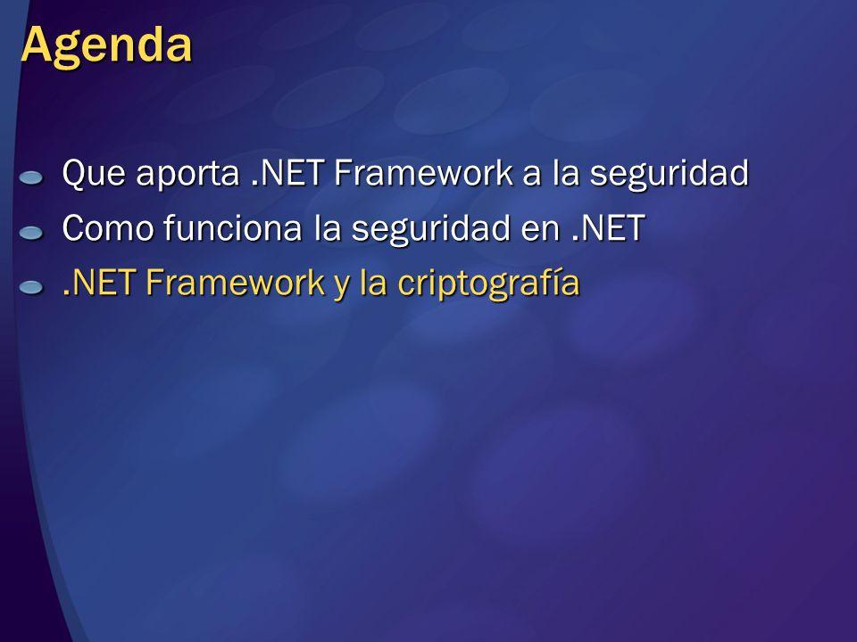 Agenda Que aporta .NET Framework a la seguridad
