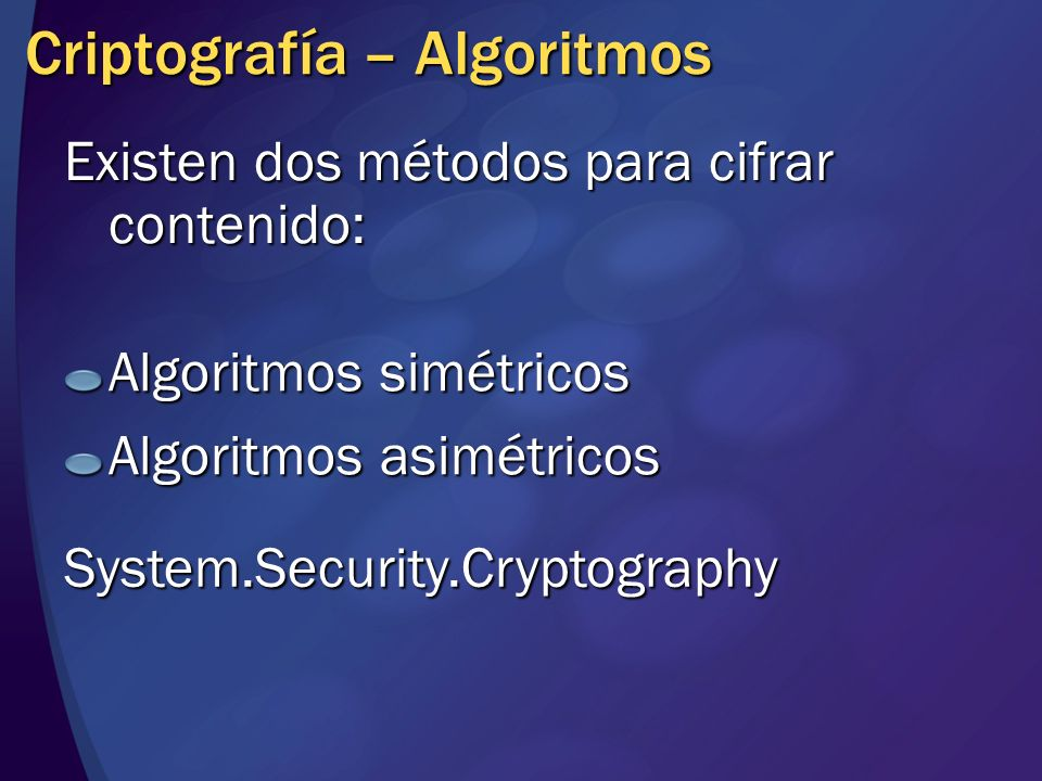 Criptografía – Algoritmos