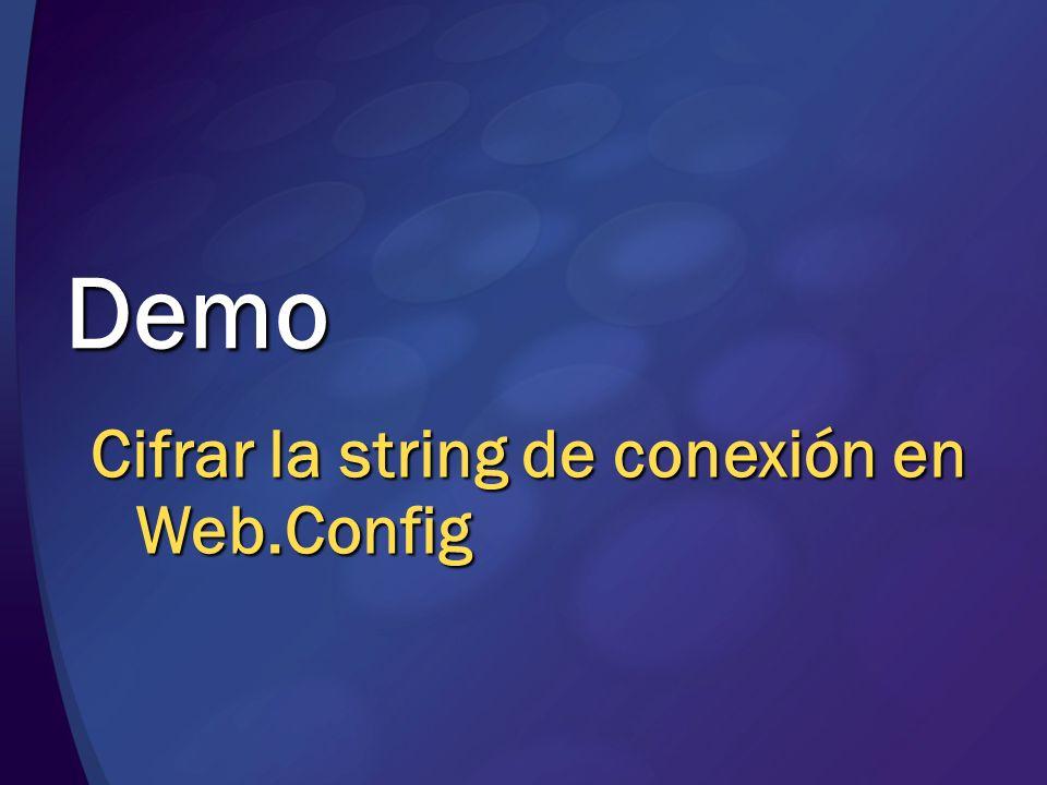 Demo Cifrar la string de conexión en Web.Config MGB 2003