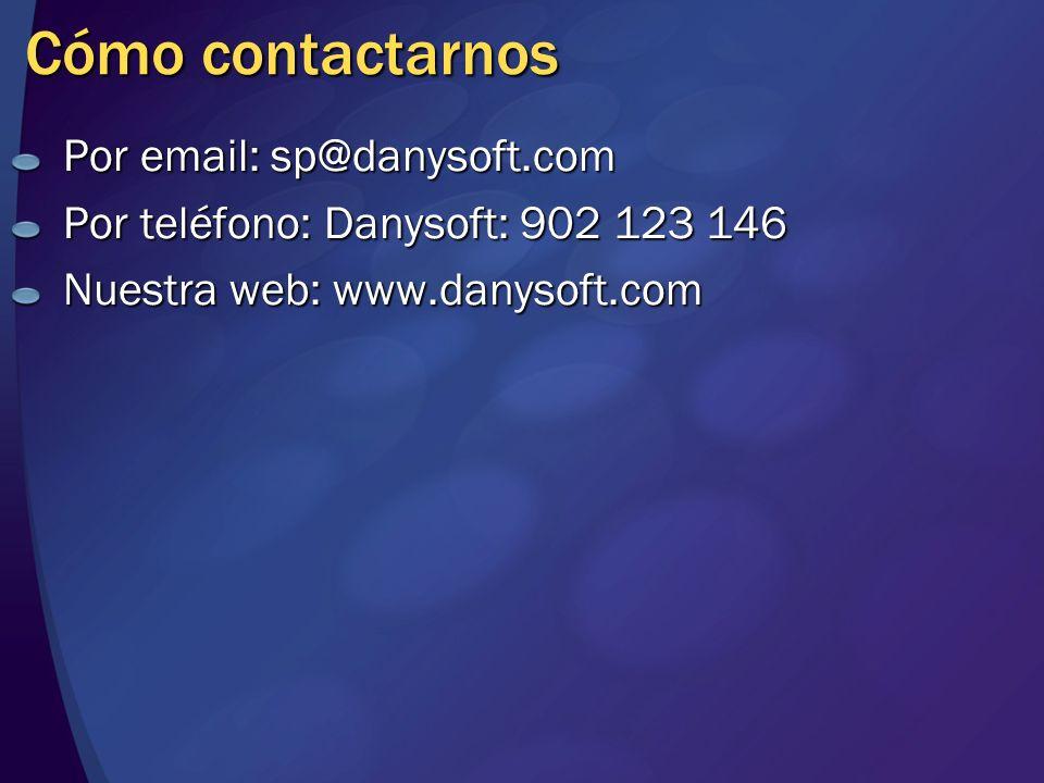 MGB 2003 Cómo contactarnos. Por email: sp@danysoft.com. Por teléfono: Danysoft: 902 123 146. Nuestra web: www.danysoft.com.