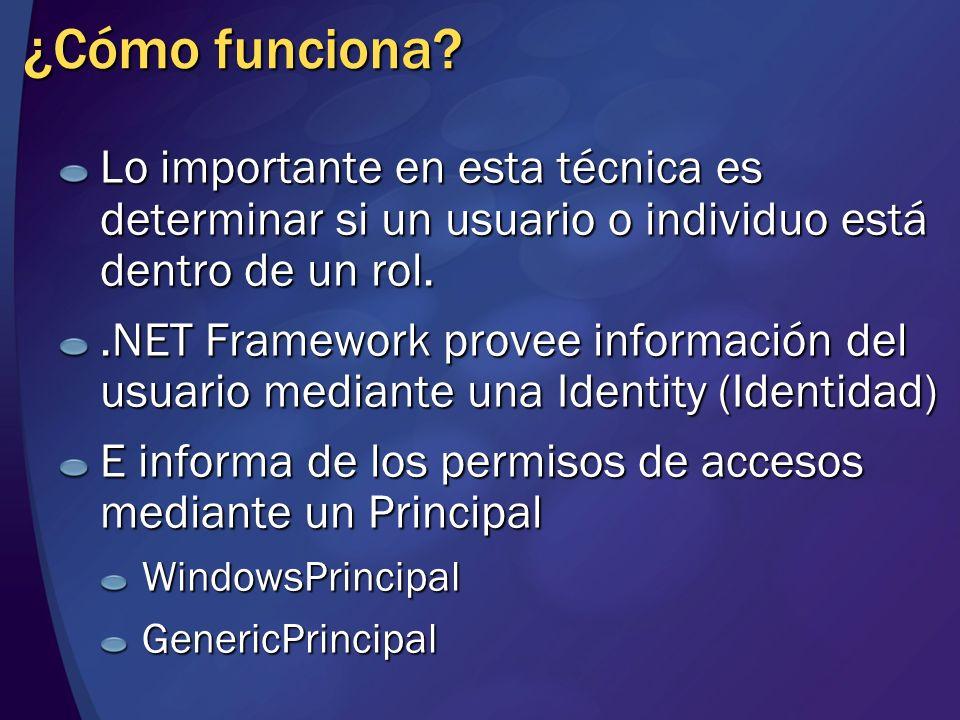 MGB 2003 ¿Cómo funciona Lo importante en esta técnica es determinar si un usuario o individuo está dentro de un rol.